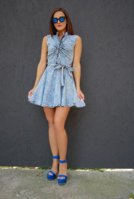 SMART DENIM DRESS (NO SLEEVES)(4 COLORS}