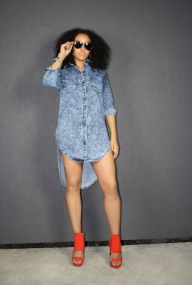 RELAXING DENIM DRESS (2 COLORS)