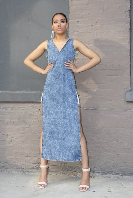 REBIRTH DENIM MAXI TOP