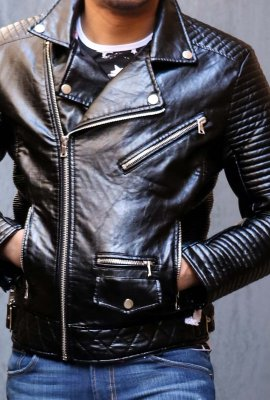 HUSTLE HARD BIKER JACKET