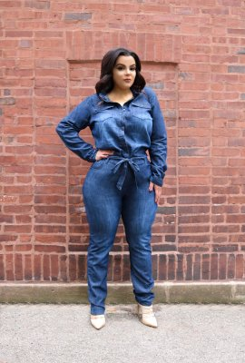 TAKE FLIGHT DENIM JUMPSUIT LONG SLEEVE (FUNSIZE XL)