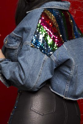 HAPPY LIFE DENIM & SEQUINS JACKET