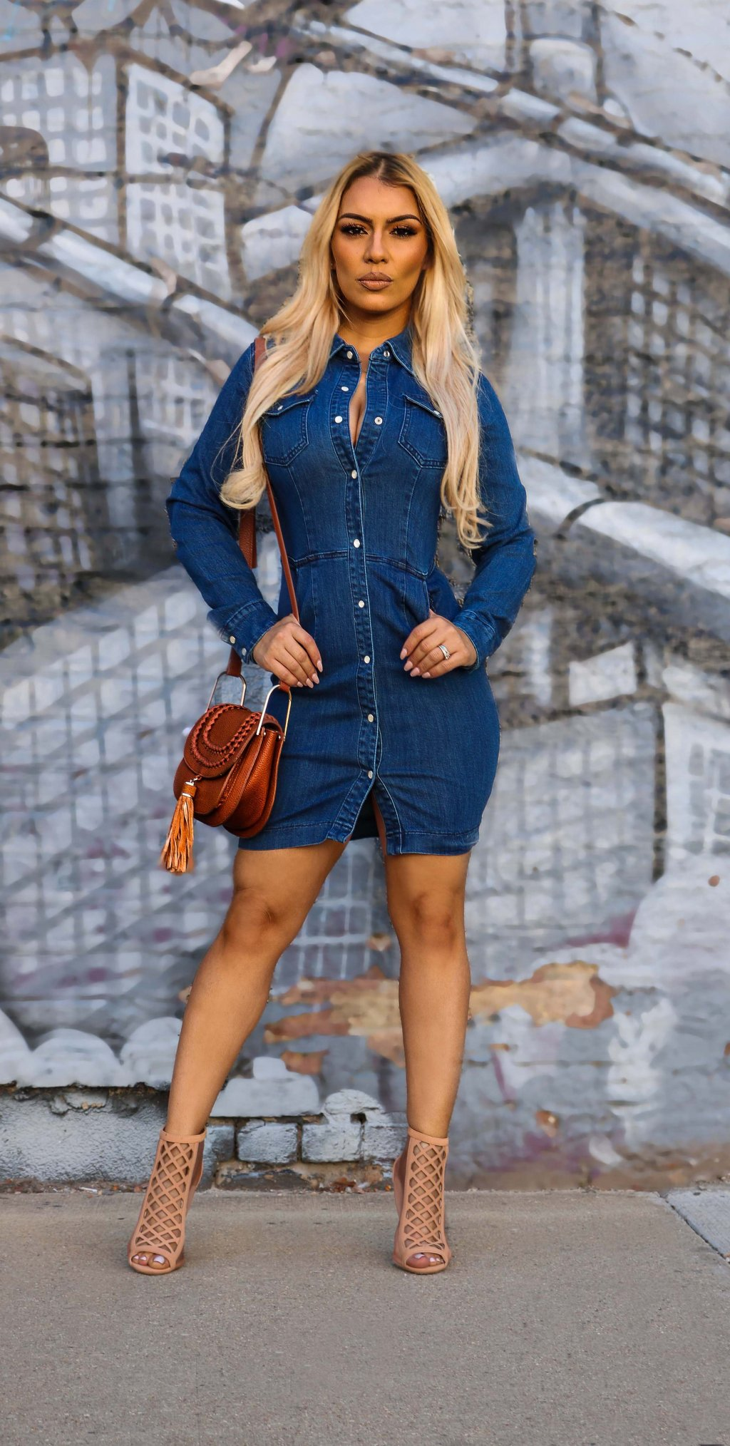 DOUBLE DENIM DRESS
