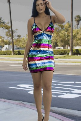 CRAZY COLOR SEQUINS DRESS