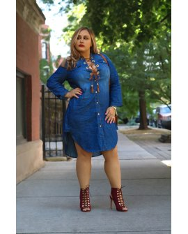 POCOHONTAS DENIM DRESS (FUNSIZE XL-3X)