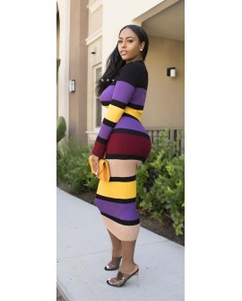 COLOR PURPLE KNIT DRESS