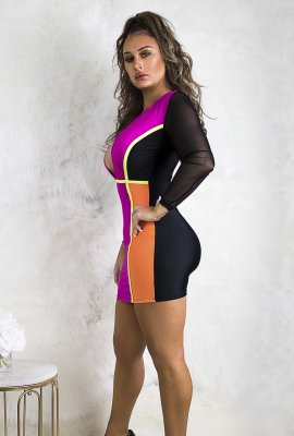 COLOR TRIANGLE DRESS